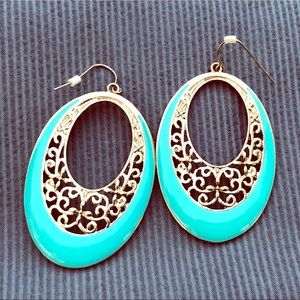 Turquoise & silver-tone earrings